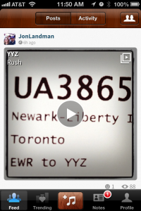 A friend is going to Toronto the airport code is YYZ. He posted the Rush track of the same name with his boarding pass!