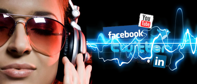 Girl with headphones and social media logos