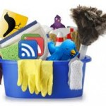 Cleaning bucket with social media icons